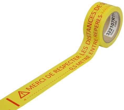 Ruban PVC jaune «MERCI DE RESPECTER LES DISTANCES DE SECURITE»